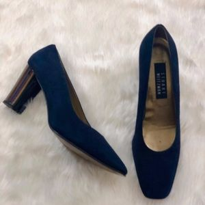 Stuart Weitzman Navy Suede Color Block Heel